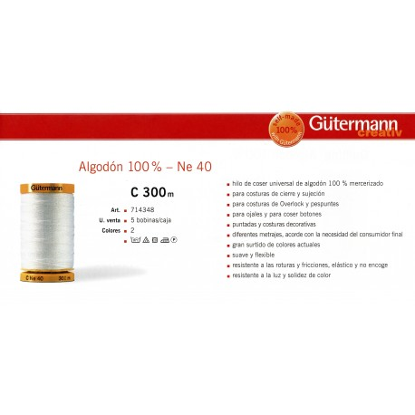 GUTERMANN / BOBINA HILO GUTERMAN ALGODON 100% 300 METROS - NE 40