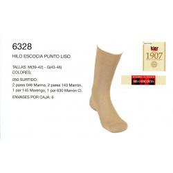 KLER 6328 - pack de 6 pares de calcetines hilo de escocia punto liso